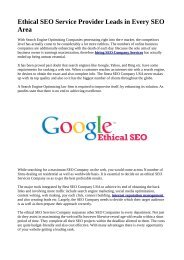 Ethical SEO Service Provider Leads in Every SEO Area