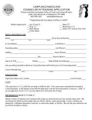 camp zacchaeus 2009 counselor in training application - Diocese of ...