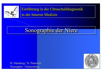 Sonographie der Niere Sonographie der Niere Sonographie der Niere
