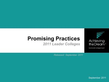 2011 Promising Practices: First-Year Experience - Achieving the ...