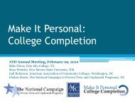 Make It Personal: College Completion - Achieving the Dream