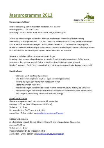 Jaarprogramma 2012 - Bunker Museum IJmuiden