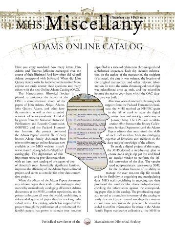 ADAMS ONLINE CATALOG - Massachusetts Historical Society