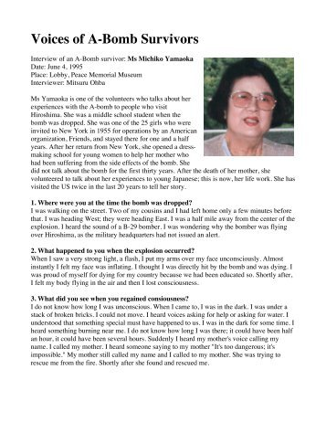 Ms. Michiko Yamaoka - Atomic Bomb Survivor - Wyoming City Schools