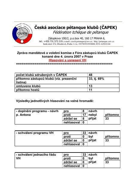 UsneseníVH _ÈAPEKza2006 - Česká asociace pétanque klubů
