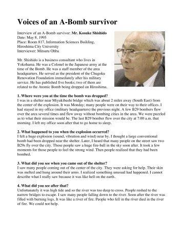 Mr. Kosuke Shishido - Atomic Bomb Survivor - Wyoming City Schools