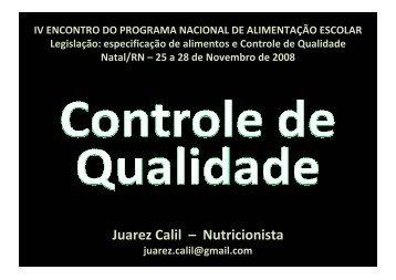 Controle de qualidade - REBRAE - Rede Brasileira de Alimentação ...