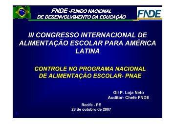 III CONGRESSO INTERNACIONAL DE ALIMENTAO ESCOLAR