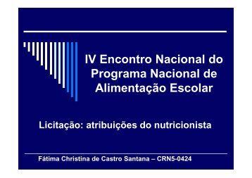 Licitação - atribuições do nutricionista