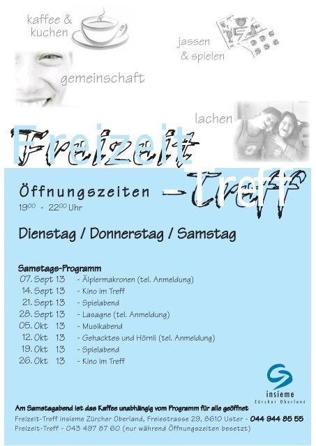 Programm Freizeit-Treff September/Oktober 2013 zum Herunterladen