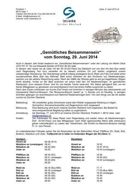 """""""Gemütliches Beisammensein"""" - insieme   Zürcher Oberland"""