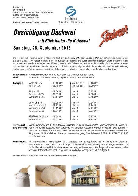 Besichtigung Bäckerei - insieme | Zürcher Oberland