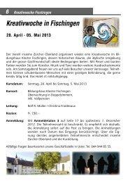 Kreativwoche in Fischingen - insieme | Zürcher Oberland