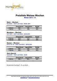 Preisliste Weisse Wochen - beim Hotel & Restaurant Pöstli