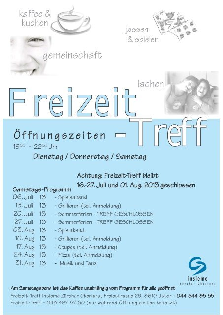 Programm Freizeit-Treff Juli / August 2013 zum Herunterladen
