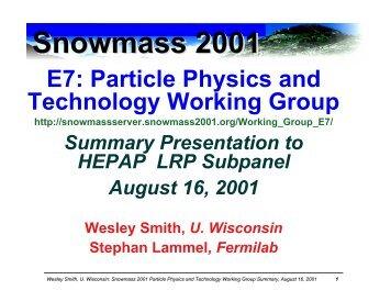 HEPAP LRP Subpanel Talk - Snowmass 2001