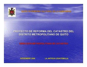 Proyecto de Reforma del Catastro del Distrito Metropolitano de Quito