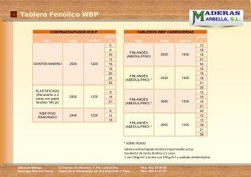 Tablero Fenólico WBP - Maderas Marbella, SL.
