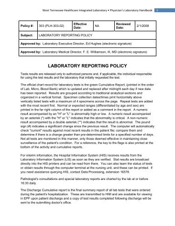 (303) Laboratory Reporting Policy - Medical Center Laboratory