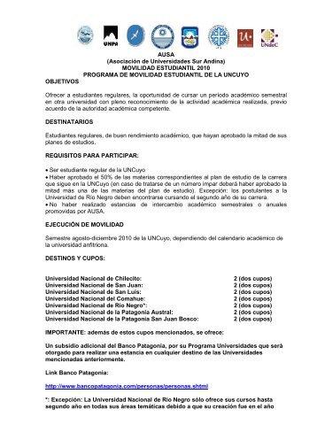 Convocatoria Movilidad estudiantil 2010.pdf - Universidad Nacional ...