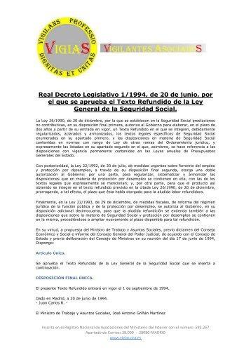 Real Decreto Legislativo 1/1994, de 20 de junio, por el que ... - VigiaS
