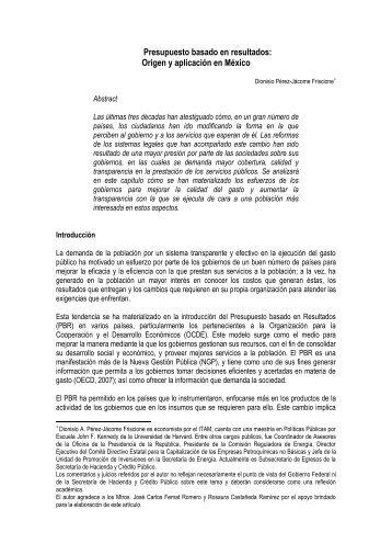 Presupuesto basado en resultados: Origen y aplicación en México