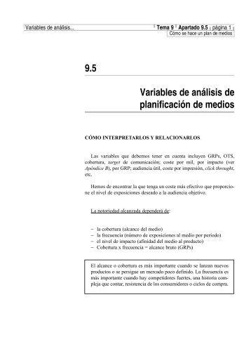 9.5 Variables de análisis de planificación de medios - Iniciativas ...
