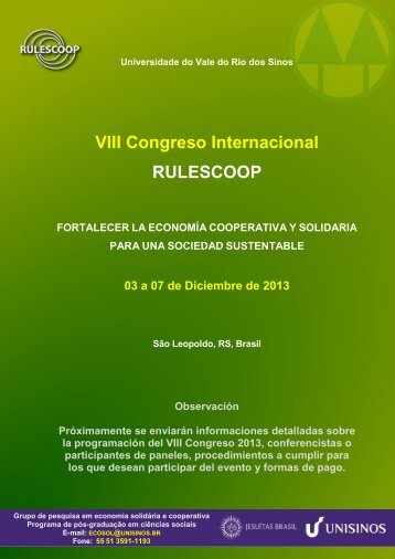 Información Rulescoop 2013 - Universidad de Costa Rica