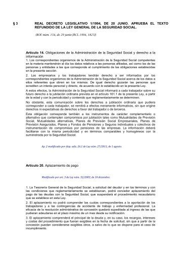 3 REAL DECRETO LEGISLATIVO 1/1994, DE 20 JUNIO ... - Aranzadi