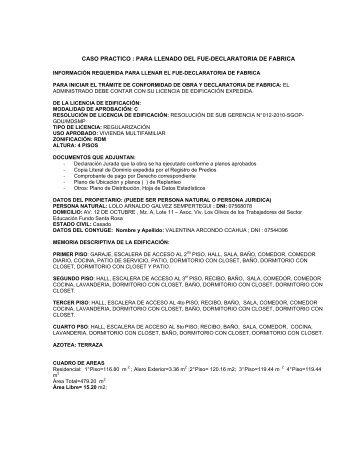 EJEMPLO PRACTICO FUE-DECLARATORIA DE FABRICA