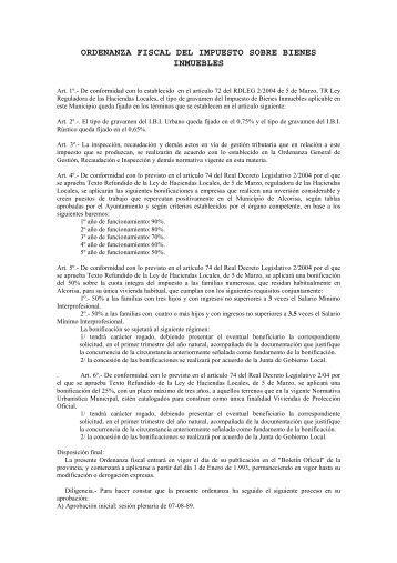 Ordenanza Impuesto Bienes Inmuebles - Ayuntamiento de Alcorisa