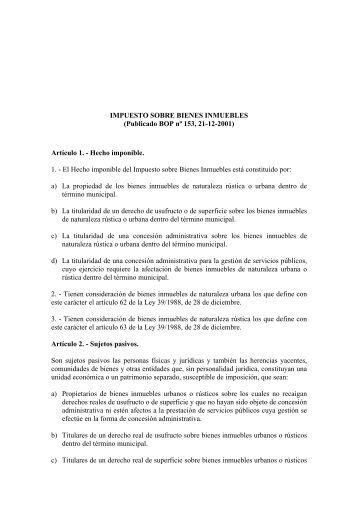 IMPUESTO SOBRE BIENES INMUEBLES - Ayuntamiento de Santa ...