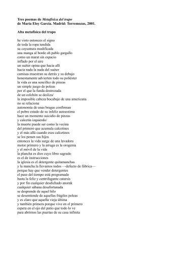 Tres poemas de Metafísica del trapo de María Eloy ... - EURACA