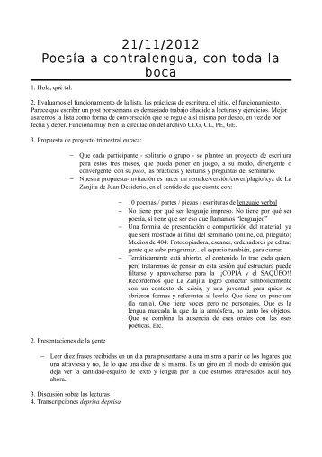 21/11/2012 Poesía a contralengua, con toda la boca - EURACA
