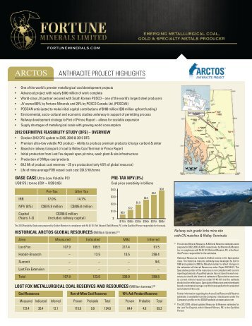 ARCTOS - Fortune Minerals Limited