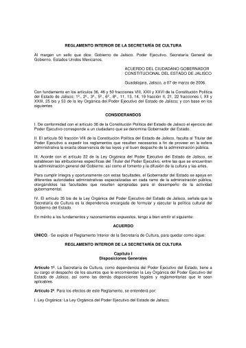 Reglamento Interior De La Secretaría De Cultura - Trámites y servicios