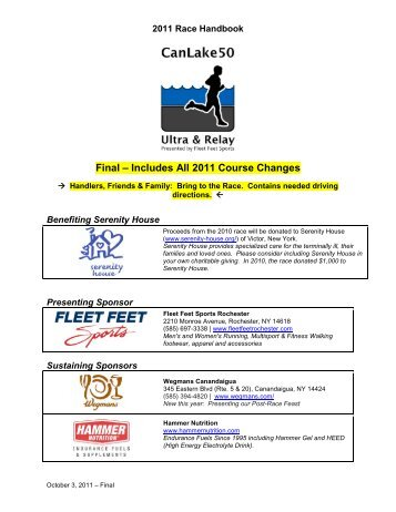 Route Information for Relay and Solo Runners - Can Lake 50