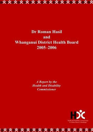 Roman Hasil and the Whanganui DHB - Health and Disability ...