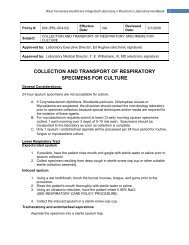 collection and transport of respiratory specimens for culture