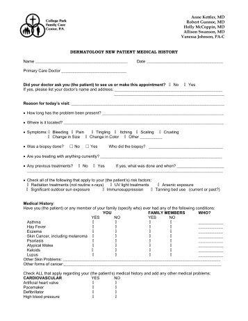 Adult Health History Form