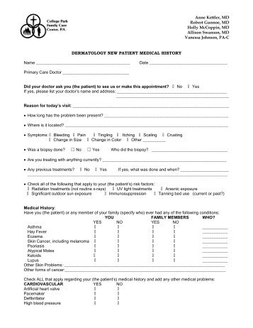 new ms patient history form college park family care