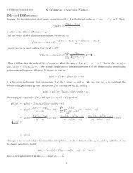 Numerical Analysis Homework set #4 Return date: 5/10/90