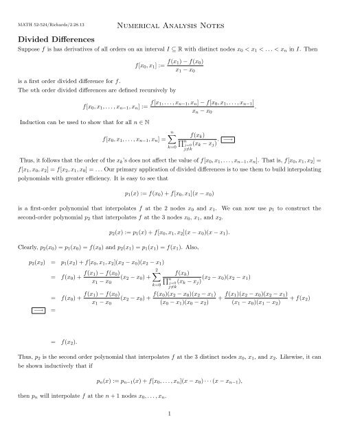Numerical Analysis Notes Divided Differences - Southwestern