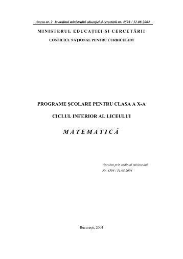 Programa Matematica 10