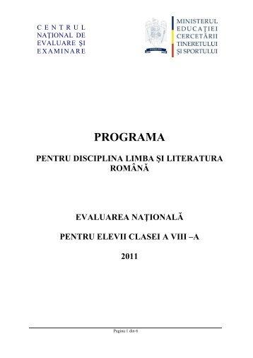 Programa pentru disciplina Limba şi literatura română