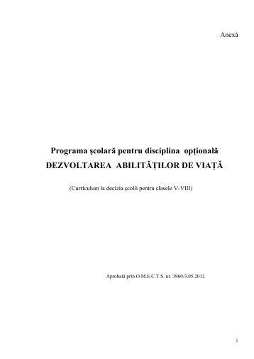 Programa şcolară pentru disciplina opţională DEZVOLTAREA ...