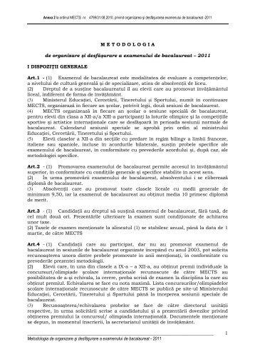 Metodologia de organizare şi desfaşurare a examenului de