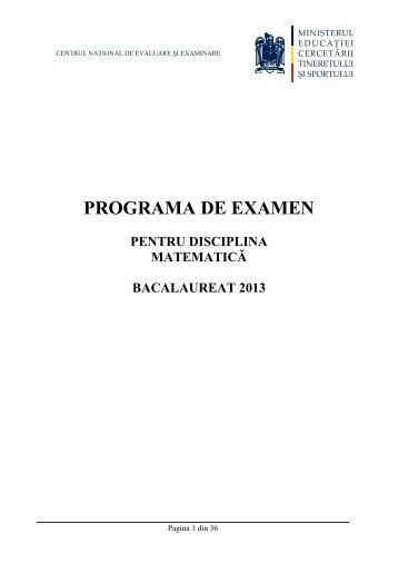 Programa Bacalaureat Matematica