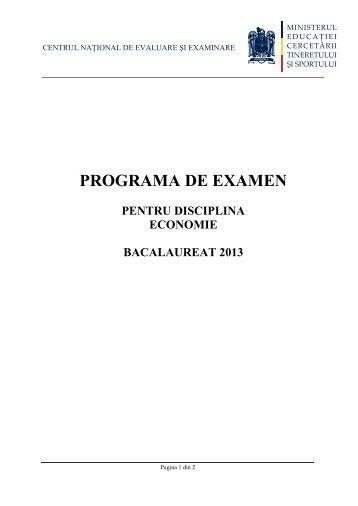 Programa de examen pentru disciplina ECONOMIE
