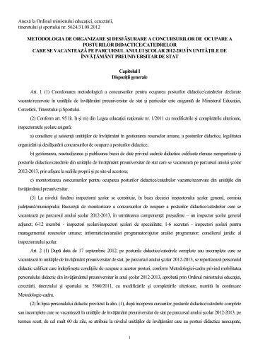 Metodologia de organizare a concursului pentru ocuparea posturilor ...